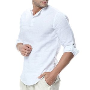 Cou été Mens Henley T-shirts manches solides demi-Tees Casual Male Pull Pure Color vrac Homme Tops