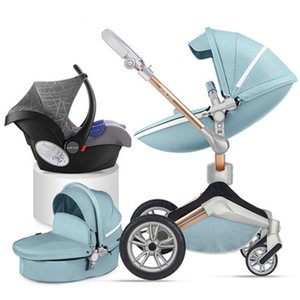 2020 Hot Mom stroller baby high landscape newborn can sit reclining folding light imported baby child stroller PU free ship