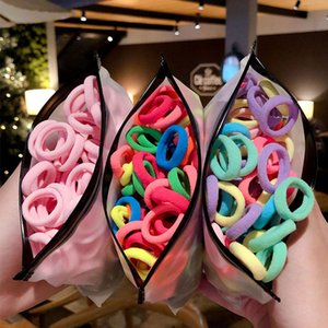 50pc lot Kids Candy Color Scrunchie Hair Rope Elastic Hair Bands Mini Rings Rubber Band for Girls Princess Accessories