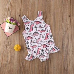 1-5Y Toddler Baby Kid Girls Cartoon Swimsuit Dinosaur Ruffles Bodysuit Summer Swimwear Children Beach wear Bathing Suit