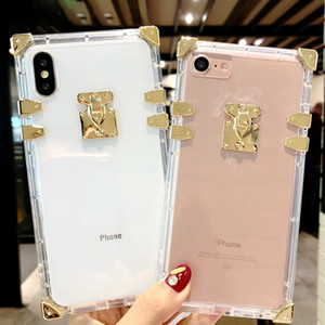 Funda telefónica clara cuadrada para iPhone 11 8 7 7Plus x Bling Metal Clear Crystal Cubierta de cristal trasero para iPhone XS MAX XR 6 6S 8 Plus Case