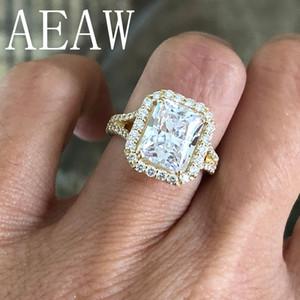 Kadınlar İçin AEAW 4.5ctw Merkezi 10x8mm Radiant Kesim Moissanite Nişan yüzüğü Gerçek 14K Sarı Altın Elmas Güzel Takı