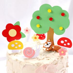 1Set INS Hot Kid Birthday Cake Topper Forest Theme Birthday Cake Decor Cute Tree Flower Mushroom Paper Cake Flag For Baby Shower