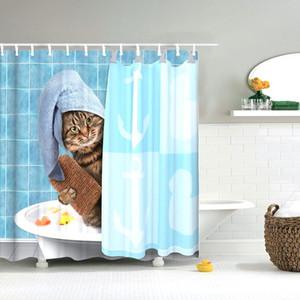 Dafield 욕실 커튼 동물 재미 용감한 곰에 상어 샤워 커튼 세척 패브릭 욕실 장식 샤워 커튼 곰 CX200704