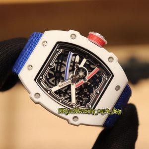 Beste Version Designer Uhren RM 67-02 Sprint Wayde van Niekerk Weiß Ceramics Fall Skeleton Dial Miyota Automatik RM67-02 Herrenuhr Nylon