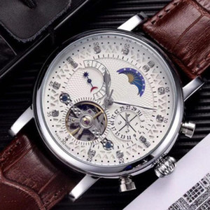 أزياء الجلود ووتش الرجال ساعة اليد رجل الميكانيكية التلقائي حركة الصلب ووتش الساعات relogio masculino ساعة المعصم