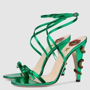 Chaussures Mujer diseño caliente serpiente trenzada tacones de aguja 10 cm sandalias Mujeres Zapatos con tiras Correas pajarita Zapatos de fiesta zapatos mujers