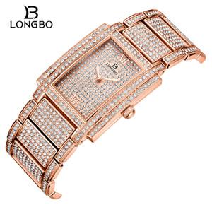 Longbo vigilanza del diamante per le donne di lusso delle signore di marca Piazza Gold Watch minimalista analogico al quarzo Movt unico femminile fuori ghiacciato Guarda