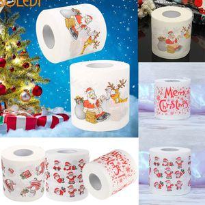 Motif De Noël Rouleau Serviettes De Bain Papier De Toilette Drôle Humour Gag Xmas Tissu Salon Table Décoration Cadeaux Père Noël imprimer design