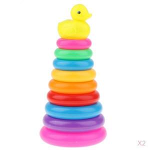 Baignoire en plastique jouets pour enfants Stacking Rings w / jaune canard mignon Set jouet pour enfants d'âge préscolaire de développement tout-petits bébé, Lot de 2