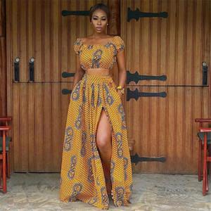 2020 abiti africani estive per le donne stampa floreale Dashiki Bazin Abbigliamento sexy spalla Fuori Robe Africaine Boemia Gonna T200630