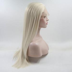 En Kaliteli Doğal Düz Beyaz Platin Sarışın Prenses Sentetik Dantel Ön Peruk Beyaz Kadınlar Için Bebek Saçlı