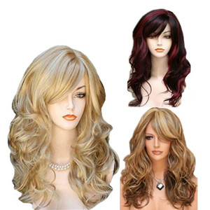 Multi Color Medium Long Hair Styling Wig Full Lace Wavy Hair Oblique Bangs Curly Human Hair Wigs