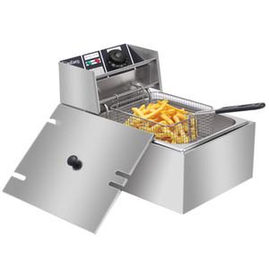 Les ventes à chaud 2500W 6L électrique Friteuse commercial réservoir unique Countertop Panier Français Fry restaurant Livraison gratuite US