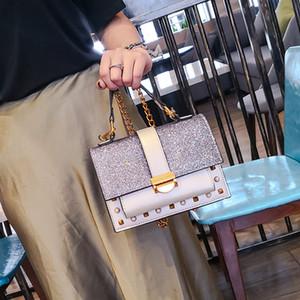 2020 Yeni Çanta Bayan - Stil Kore-Style Moda Çanta payetli Çivili Zincir Çanta Omuz Çantası