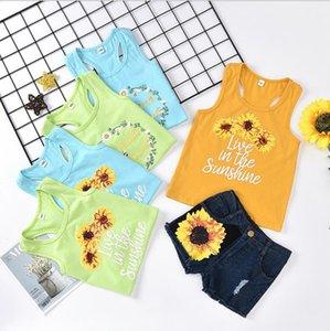Kids Designer Clothes Girls Flower Vest Denim Shorts 2pcs Sets Floral Girl Outfits Summer Boutique Children Clothing 5 Colors DW5387