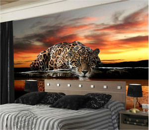 WDBH foto personalizado papel de parede 3d Modern personalidade HD leopardo água potável reflexão decoração para casa murais de parede papel de parede 3D para paredes 3 d