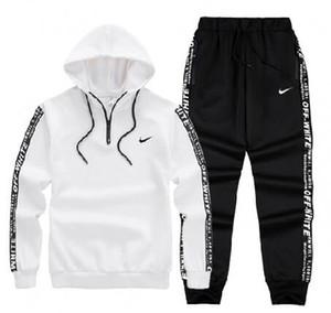 Спортивная одежда Мужские спортивные костюмы Весна Спортивная мужская сплошной цвет Спортивные костюмы New Brand White Спортивная одежда с капюшоном на молнии