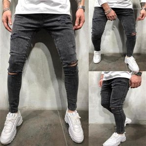 Jeans Spring Summer Designer Slim Pencil Pants Teenagers Street Style Mid Waist Pant Mens Hole Light Washed