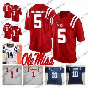 Ole Miss İsyancılar # 14 DK Metcalf 8 İlyas Moore 9 Jerrion Ealy 24 Snoop Conner 26 İşaya Woullard kırmızı lacivert beyaz Jersey