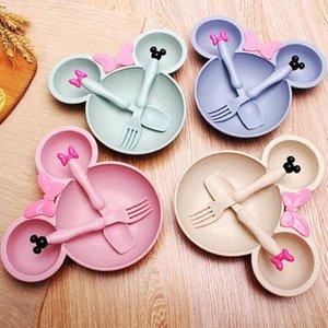 Детские наборы столовых приборов Детские Пшеничный Mouse Ложка Вилка Чаша 3шт / Set Girls Мультфильм Посуда Набор столовых приборов Посуда Подарочная коробка Кухонные принадлежности D7118