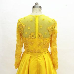 South African Black Girl A Line Yellow Satin Prom Dresses Long Sleeves 2020 Beading Lace Appliques Evening Dresses 3D Flowers Party Gowns