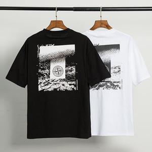 STONE ISLAND 20FW Pamuk Desgner Tişörtlü Mens Tee Kısa Sleeve Casual Siyah Beyaz Nefes Baskılı T Gömlek Boyut M-XXL # 98732