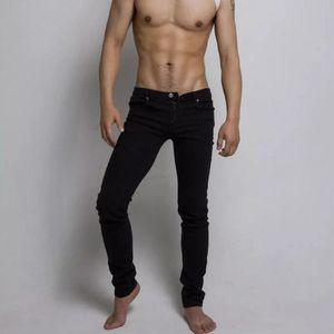 2020 New Men's jeans simple street black trend casual stretch jeans hair stylist slim thin feet pants