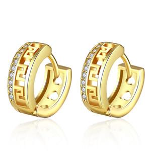 رائعة تشيكوسلوفاكيا الماس أقراط التبتية الجوف قلوب الكريستال ثقب الزركون 18 كيلو الذهب روز الذهب مربط الأذن الكفة مجوهرات للنساء الحب