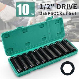 """10 stücke 8-24mm 1/2 """"Drive Deep Impact Sockel Set Schwere Metrische Garage Werkzeug für Schraubenschlüssel Adapter Handwerkzeug Set"""