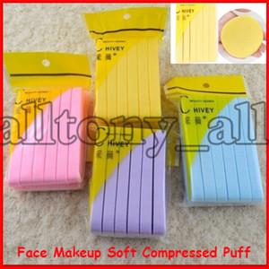 2020 caliente nueva cara de maquillaje suave comprimido Puff limpieza de la cara de esponja Jabón Facial Exfoliante almohadilla de limpieza soplo cosmético 12pcs / lot