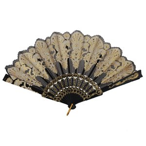 Carved Floral Gold Glitter Powder Hand Fan, Wave Edge