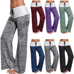Frauen-breite Bein-Hosen Fest Farbe Sport-Hose Outdoor-Freizeit-Hose Schnür Gamaschen hohe elastische Taille Gilrs Hose OOA7575