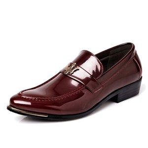 2019 derniers oxfords slip on cuir verni appartements hommes robe chaussures bureau entreprise formel époux mode décontractée mâle mariage chaussures