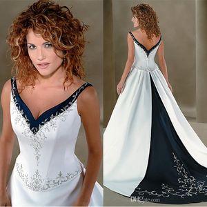 Recenti Ricamo A Line Wedding Dresses V Neck WhiteNavy Blu Satin Abiti da sposa da sposa lungo Sweep abito stile cinese