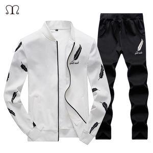 2018 새로운 패션 남성 세트 깃털은 남성 재킷 + 바지 검정과 흰색 운동복 운동복 두 조각 바지를 인쇄 스포츠