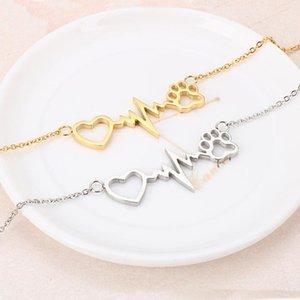 Stainless Steel Dog Puppy Love Chain Link Bracelet Women Pet Love Bracelet Jewelry Gift For Him