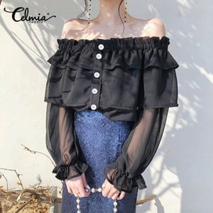 Celmia 2020 Summer Sexy Off Shoulder Tops Women Long Sleeve Fashion Blouses Perspective Strapless Buttons Office Ruffles Blusas