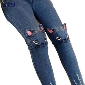 2019 Primavera Moda Niños Niñas Pantalones Vaqueros Pantalones Niñas Leggings Dibujos Animados Gato Niños Lápiz Pantalones Pantalones Largos Pantalon Fillette SH190713