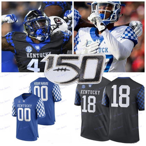 Personalizado 2020 Kentucky Wildcats Any Number Blue Black White 1 Lynn Bowden Jr. 3 Terry Wilson 26 Benny Snell Jr. College Football Jersey