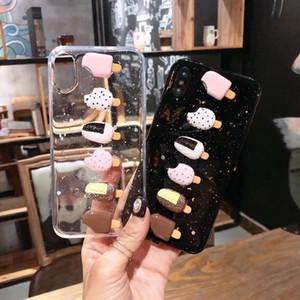 Cas de téléphone de crème glacée été 3D mignon pour iphone X XS XR XM 6 6 S Plus 7 8 Plus Transparent Doux TPU Glitter Bling Couvre Retour