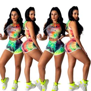 Été Femmes Shorts Traksuit manches capuche T-shirt Crop Top + Shorts Ensemble 2 pièces T-shirt d'impression Tie-Dye Tenues Costume Vêtements Meilleur Bodycon