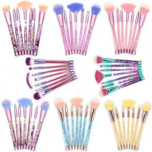 7 Stücke Pinsel Einhorn Glitter Diamant Kristall Professionelle Make-Up Set Foundation Augenbraue Make-Up Pinsel Kosmetische Werkzeug Kit Tasche Rosa Blau Haar