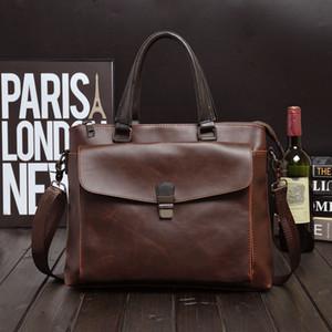 2019 Fashion Briefcase Tote Bags Uomo Luxury Designer Crazy Horse Borsa in pelle Business lavoro a tracolla Uomini Messenger Borse a mano Caffè