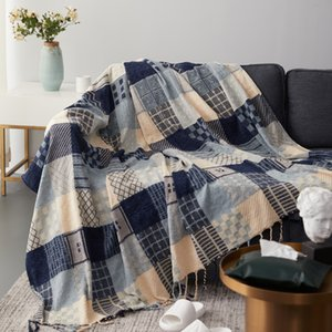 Nordic Cotton Thread Sofa Jacquard Tassel Retro Blanket Casual Hanging Tapestry For Bedding Plane Travel Car Blankets Bedspread
