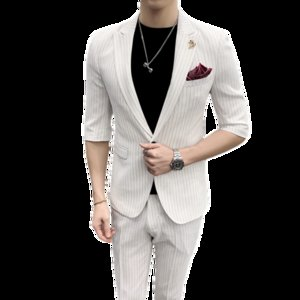 2019 summer half sleeve wedding suits for men good quality one button man stripe suit slim fit 2-piece set (Blazer + Pant) Suit