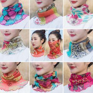 Verano de las mujeres cuello de la cara Envolturas de poliéster Sun UV protector de seda del mantón del pañuelo turbante Beach tul de protección solar de la bufanda KKA7753