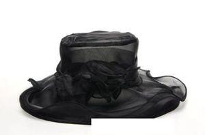 레트로 꽃 메쉬 그늘 모자 우아한 여름 멋진 한국어 모자 Organza 들어 갔어 숙녀 해변 넓은 금관 악기 기질 모자 LJJJ66