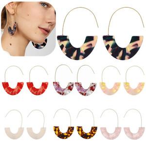 10 couleurs Mode Leopard Grain multi-couleur grand crochet Acrylique Boucles d'oreilles design spécial Résine DemiCercle Boucles d'oreilles pendantes ZA Brincos