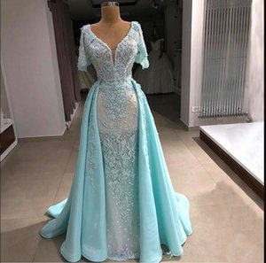 Sky Blue Mermaid Elegant Evening Formal Dresses 2020 Beaded Plus Size Evening Dress Overskirt Evening Gowns robe de soiree Abendkleider